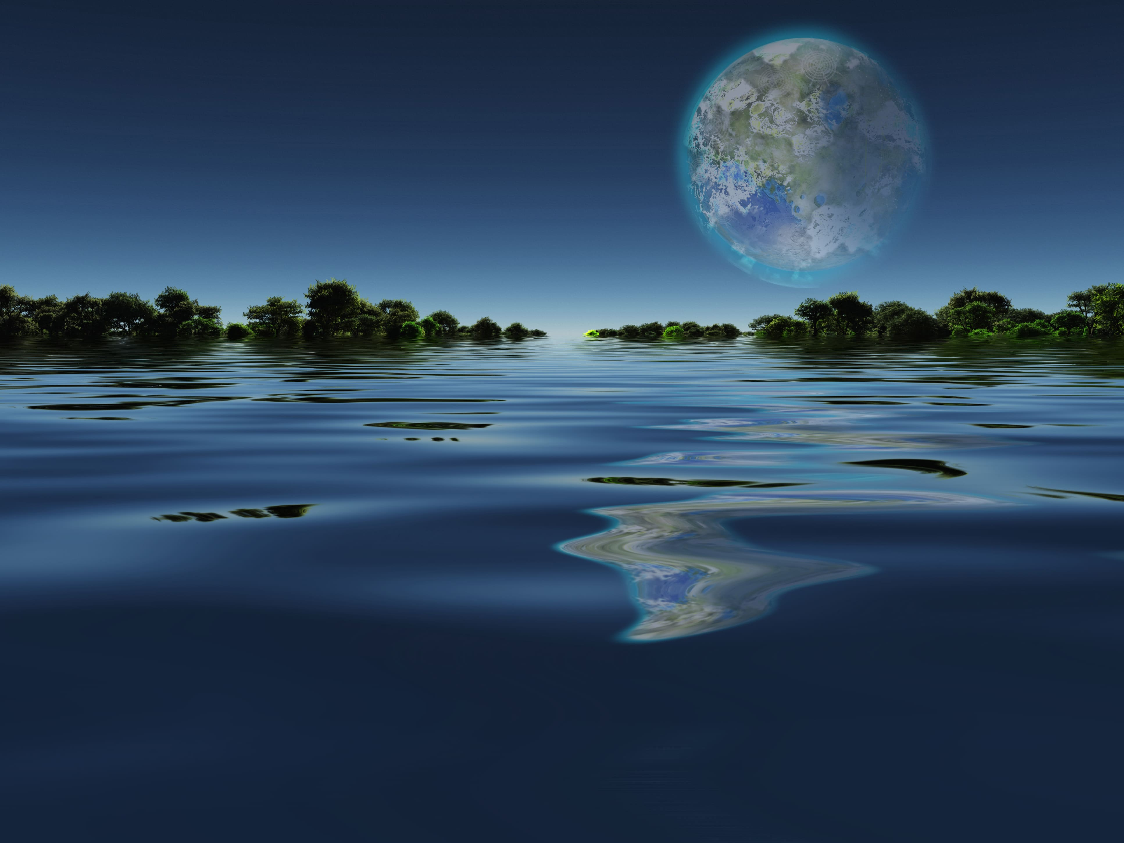 image of the earth rising over a lake from another planet