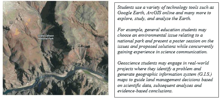 Grand Canyon National Park with examples of the tools students are using to explore, study and analyze the Earth.