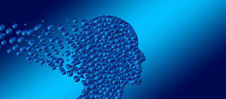 image of a human head profile made of bubbles