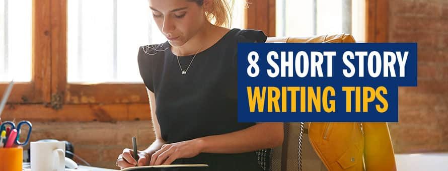A woman writing in a journal and the text 8 short story writing tips.