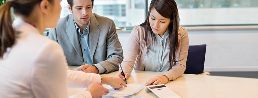 Accounting professional advising clients on their finances
