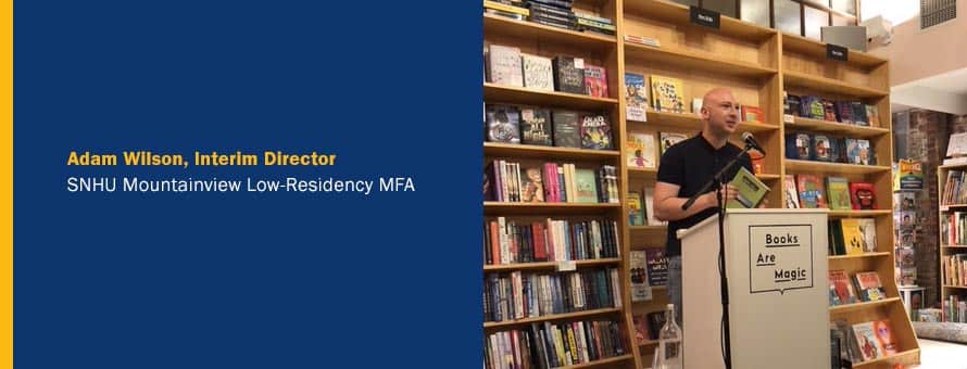 Adam Wilson speaking inside a library and the text Adam Wilson, interim director, SNHU Mountainview Low-Residency MFA.
