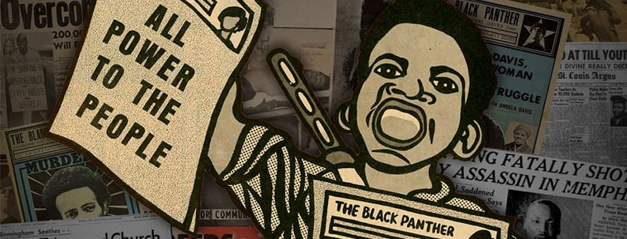 A cartoon of a Black woman holding up a flyer or newspaper that reads All power to the people.