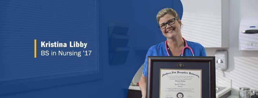 Photo of cancer-survivor Kristina Libby holding her BS in Nursing degree.