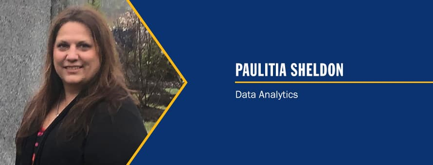 Paulitia Sheldon and the text Paulitia Sheldon, Data Analytics.