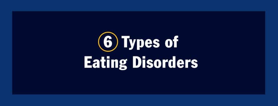 The text 6 Types of Eating Disorders.