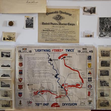 Part of the museum exhibit Elizabeth Gitschier created including a map and Civil War-era photos.