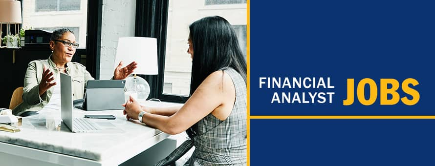 A financial analyst speaking with a client about her financial goals and the text Financial Analyst Jobs.
