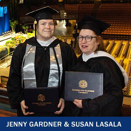 Jenny Gardner and Susan Lasala in cap and gown holding their diplomas and the text Jenny Gardner and Susan Lasala.