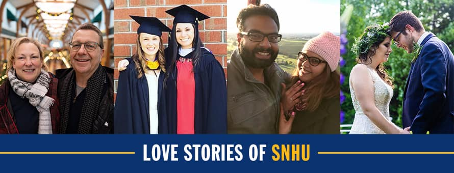 Karen and Jim Naro, Cassie Midura and Britney Bernard, Varun Chowdary Kommineni and Vaidehi Malpe, Lindsey Beauchamp and Derek Edry and the text Love Stories of SNHU