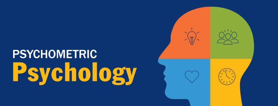 Profile of a human head split into four multi-colored sections and icons and the text Psychometric Psychology.