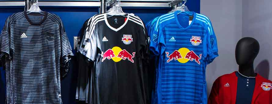 Photo of New York Red Bulls jerseys and other merchandise.