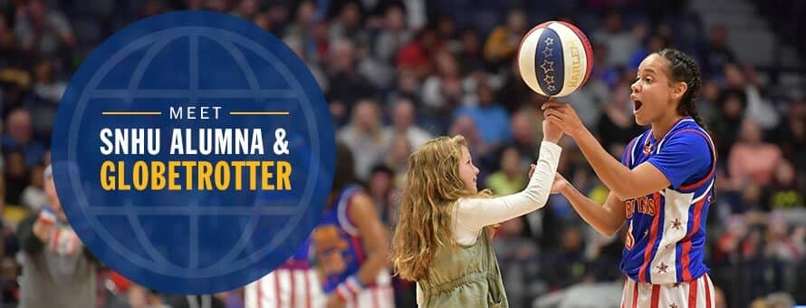 Briana Green helping a girl spin a basketball on her finger and the text Meet SNHU Alumna and Globetrotter.