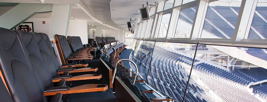 An empty suite in a sports stadium.