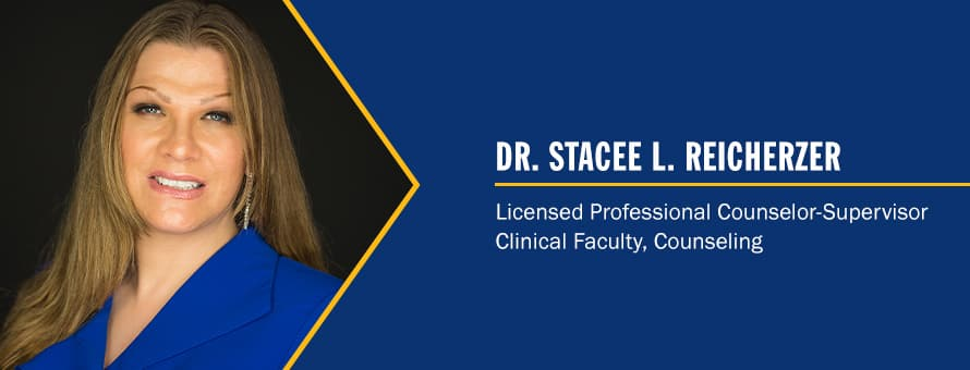 Stacee Reicherzer and the text Dr. Stacee L. Reicherzer, Licensed Professional Counselor-Supervisor, Clinical Faculty, Counseling.