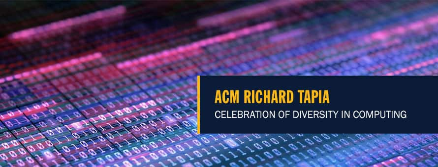 A series of digital ones and zeros in various colors and the text ACM Richard Tapia Celebration of Diversity in Computing.