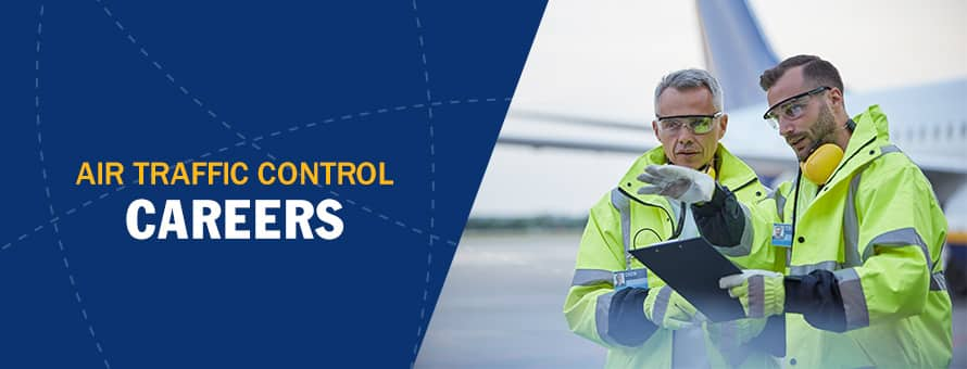 A man explains to another person what is air traffic control