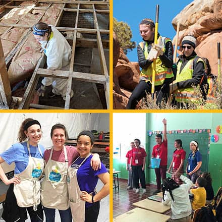 A panel of four images showing SNHU students participating in alternative spring break service projects.