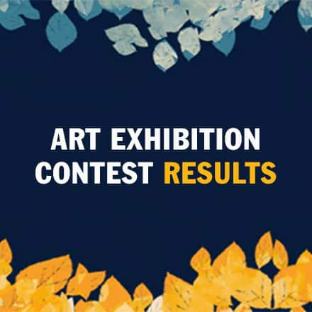 "Blue and gold leaves surrounding a dark blue background and the text ""Art Exhibition Contest Results"""