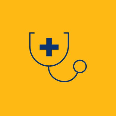 A blue stethoscope on a yellow background.