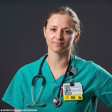 Daniele Fenn wearing scrubs and a stethoscope with photo credit Dartmouth-Hitchcock/Mark Washburn
