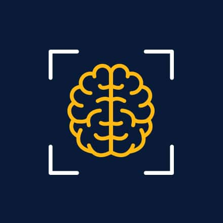 A yellow icon of a human brain on a dark blue background.