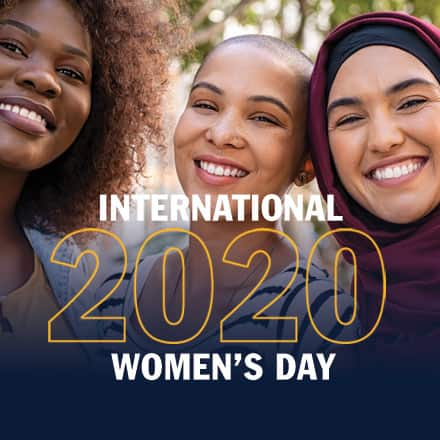 "Three women celebrating International Women's Day and the text ""International Women's Day 2020"""