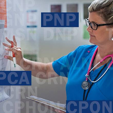 A nurse looking at a chart with a series of nursing acronyms layered on top of her including PNP and CPON.