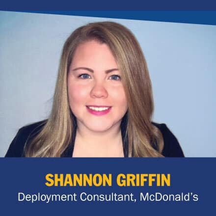 Shannon Griffin and the text Deployment Consultant, McDonald's