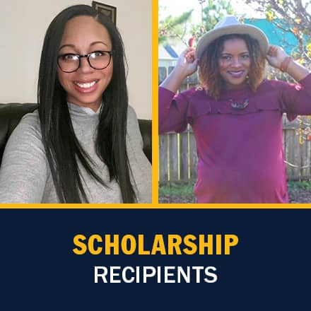 Shawn Hill on the left and Shaquita Callier on the right with the text Scholarship Recipients