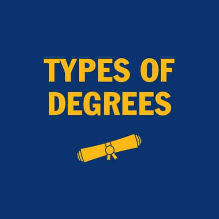 Diploma icon with the text Types of Degrees