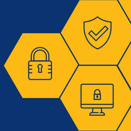An icon of a padlock, security checkmark and computer monitor inside yellow hexagons.