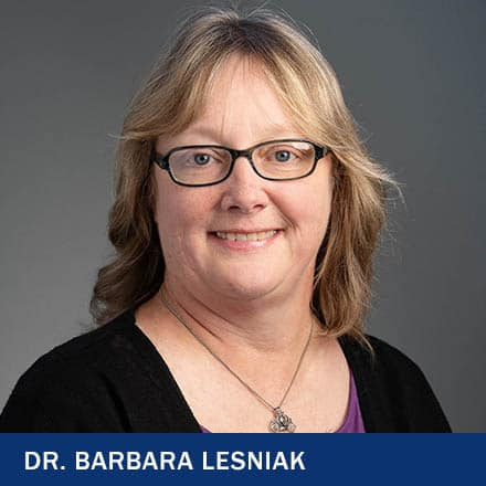 Dr. Barbara Lesniak with the text Dr. Barbara Lesniak