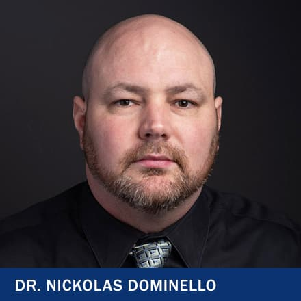 Dr. Nickolas Dominello with the text Dr. Nickolas Dominello