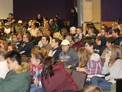 Some of the more than 100 students who listened to Tito Jackson speak at SNHU on Oct. 19.