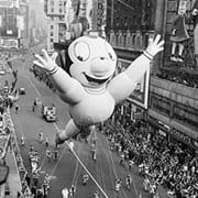 Black and white image of a float at the Macy's Thanksgiving Day Parade