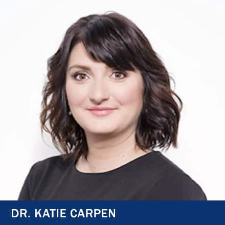 Dr. Katie Carpen with text Dr. Katie Carpen