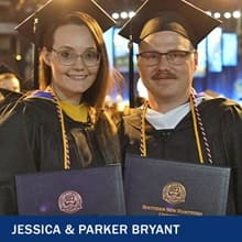 Jessica and Parker Bryant in caps and gowns and holding their degrees at Commencement and the text Jessica & Parker Bryant.