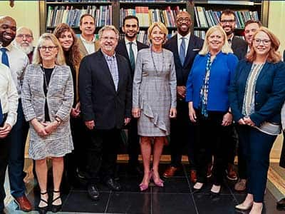 U.S. Department of Education Secretary Betsy DeVos with a group involved in the DOE's educational technology challenge.