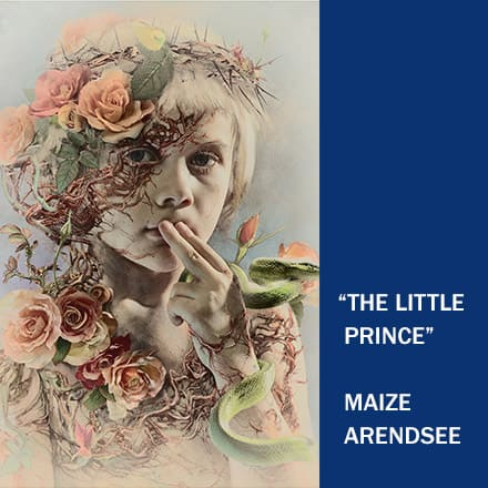 """Portrait of a little boy cover in vines and flowers with the text """"The Little Prince"""" Maize Arendsee"""