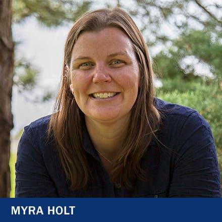 Myra Holt with the text Myra Holt