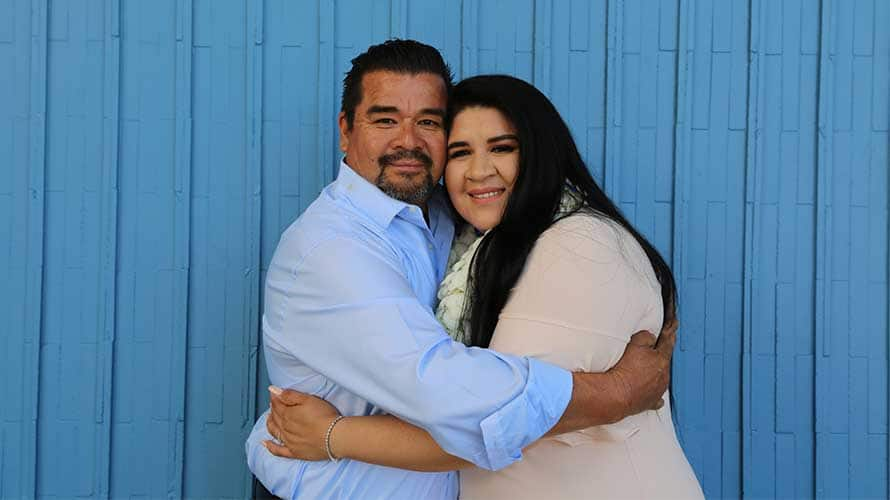 Veronica Rodriguez with her father.