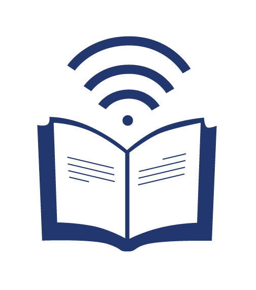Open book with a Wi-fi signal above it