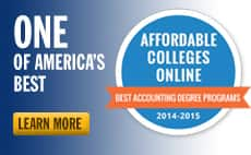 Badge reading One of America's Best, Affordable Colleges Online and Best Accounting Degree Programs 2014-2015.