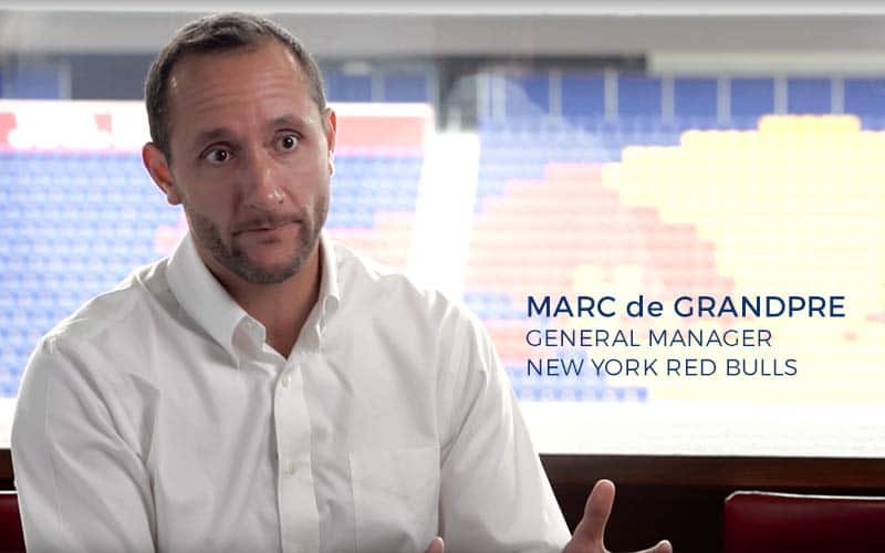 Marc de Grandpre talks in his office at Red Bull Arena