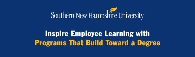 SNHU Logo with text: Inspire Employee Learning with Programs That Build Toward a Degree