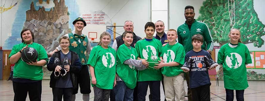 Middle School Students with Celtics
