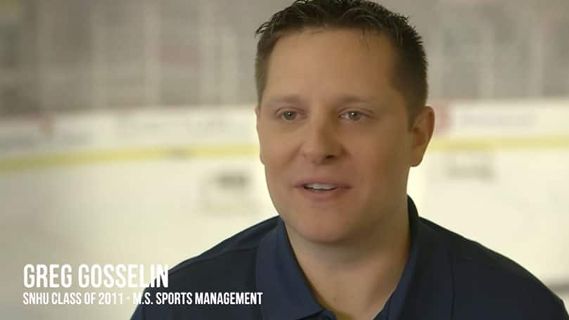 SNHU Sport Management Student Perspective Story Greg Gosselin Alumni Testimonial Video